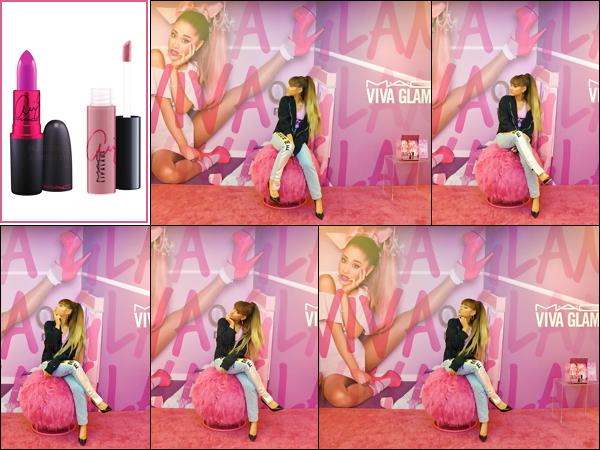 """'""""22.08.16'''' ─ Ariana faisant la promo de sa collab avec MAC dans les locaux de la marque, à  West Hollywood. Il s'agit déjà de la deuxième collaboration de Ari avec ce fabricant de cosmétiques. Un Meet and Greet a été spécialement organisé, pour l'occasion ![/alig fen]"""