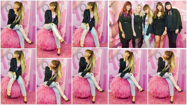 """'""""-22.08.16''' ─ Ariana faisant la promo de sa collab avec MAC dans les locaux de la marque, à  West Hollywood. Il s'agit déjà de la deuxième collaboration de Ari avec ce fabricant de cosmétiques. Un Meet and Greet a été spécialement organisé, pour l'occasion ![/alig fen]"""