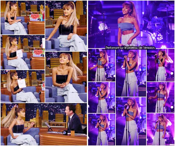 """'''""""08.09.16''' ─ Ariana G. était l'invitée du jour de la célèbre émission de talk-show de Jimmy Fallon, à  New-York. Son passage a été marqué par le live de Jason's Song (Gave It Away), disponible seulement sur quelques éditions collector de Dangerous Woman !"""