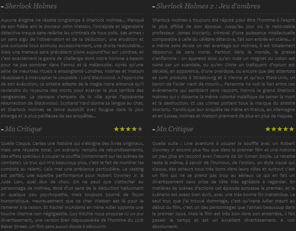 Sherlock Holmes I + Sherlock Holmes : A Game of Shadows (II)