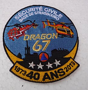 ECUSSON ANNIVERSAIRE DRAGON 67 SECURITE CIVILE STRASBOURG