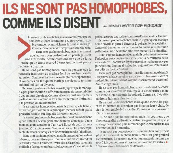 Ils ne sont pas homophobes... Comme ils disent...