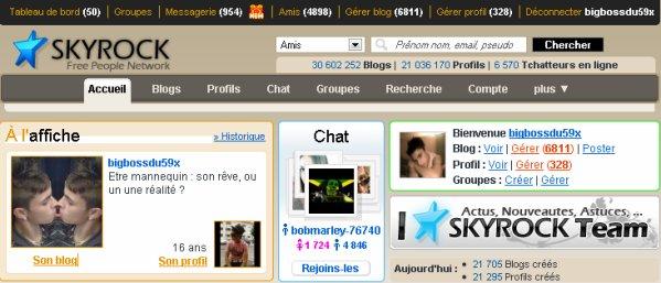 Je tenais à remercier Skyrock pour m'avoir élu blog à l'affiche pendant 24h.Durant cette journée j'ai reçu de nombreux com's , messages et demande en amis