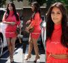 * 9 AOÛT _Kim se baladant dans les rue de Los Angeles pour une journée shopping. TOP ou FLOP ? _  Elle portait une superbe robe rose col roulé ainsi que des escarpins et une pochette Gucci dorés. *