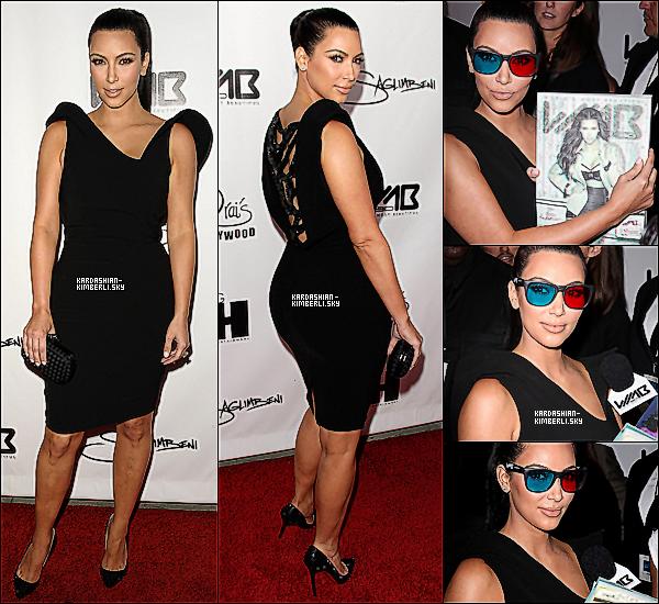 """* 10 AOÛT _Kim était présente a la soirée du lancement du magasine 3D """"World's Most Beautiful"""". Ton avis ? _ Vêtue d'une robe noire, de chaussures Louboutins noir et d'une pochette Bottega Veneta, Kim nous offre un TOP . *"""