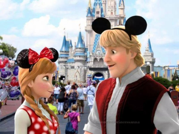 Kristoff Bjorgman et Ana dans le parc Disney