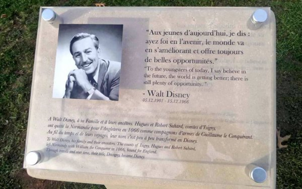 plaque pour l'hommage à Walt Disney