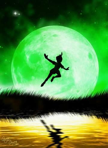 peter pan avec la lune vert