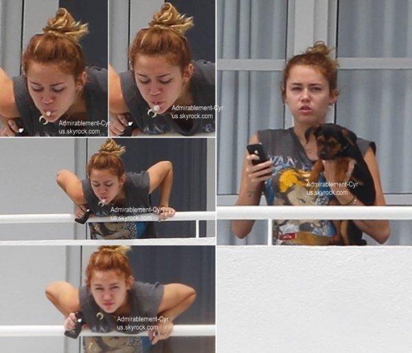 17/05/2012 - Miley sur le balcon de son hôtel (FL) et prenant des photos avec Happy.   FLOP pour la tenue pour le peu qu'on voit. Je n'aime vraiment pas ce tee-shirt   Désolé pour la mauvaise qualité de photos.