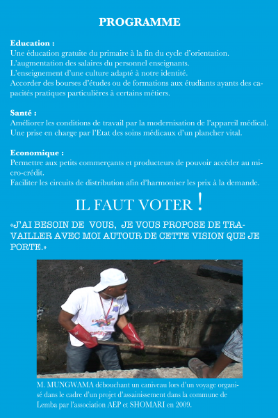 PROGRAMME PRIORITAIRE POUR LES ELECTIONS LEGISLATIVES EN RD CONGO DANS LE DISTRICT DE LA FUNA