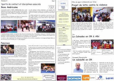 Article sur les Sports de Contact dans le journal Trimestriel du CDOS