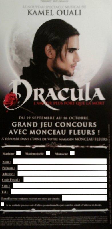 """Concours """"Dracula, l'amour plus fort que la mort""""dans tous les """"Monceau Fleurs"""" de France."""