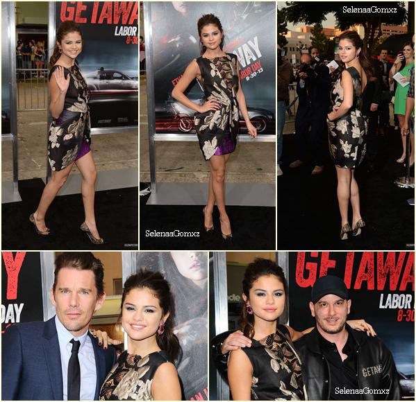 """26/08 Selena à l'avant première de """"Getaway"""" à Los Angeles ."""