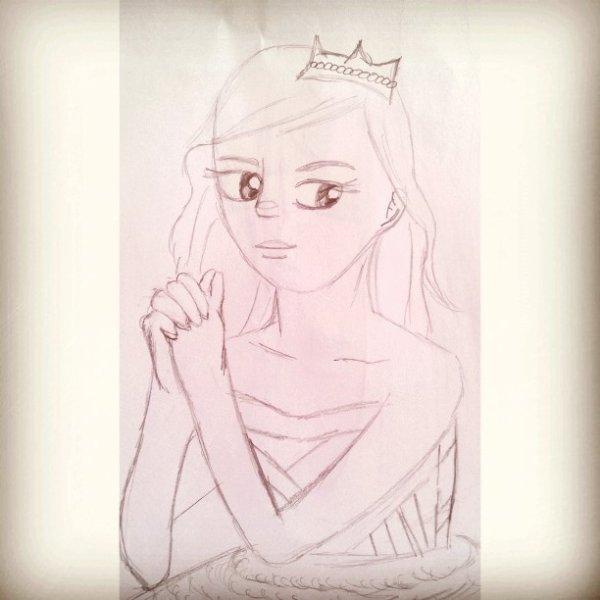 1ere version de mon dessin d'une princesse