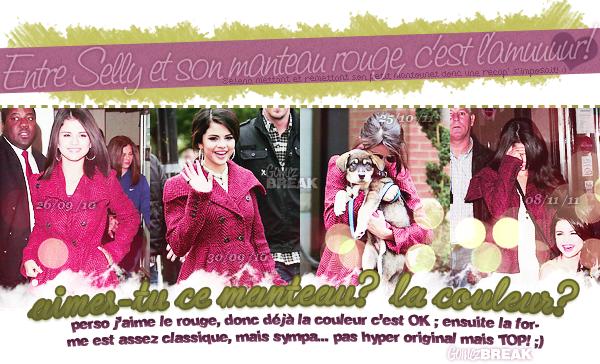 """*Selena est carrément accro à son manteau rouge et donc j'ai récapitulé ses tenues!Cet article """"look"""" est vraiment immonde, c'est clair et net.. bref. Laissez quand même vos avis, je ferais mieux la prochaine fois!♥*"""
