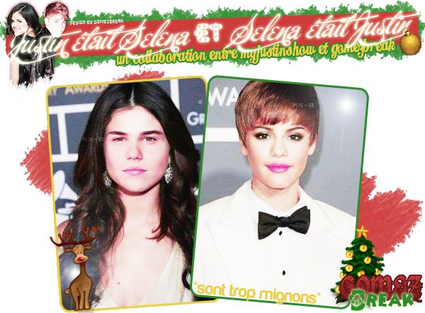 *Et si.. Justin avait la tête à Selena et Selena la tête à Justin? Ca donnerait ça! LOL :)En collaboration avec Popo de MyJustinShow ♥! Et je trouve que la tête de JB sur Sel ça ressemble à Taylor Lautner.. (#okjesors)*