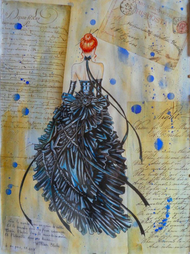Collage, encre de chine, aquarelle, acrylique.... ( D'après les oeuvres d'Olivier Ledroit et pour ma puce ^^ )