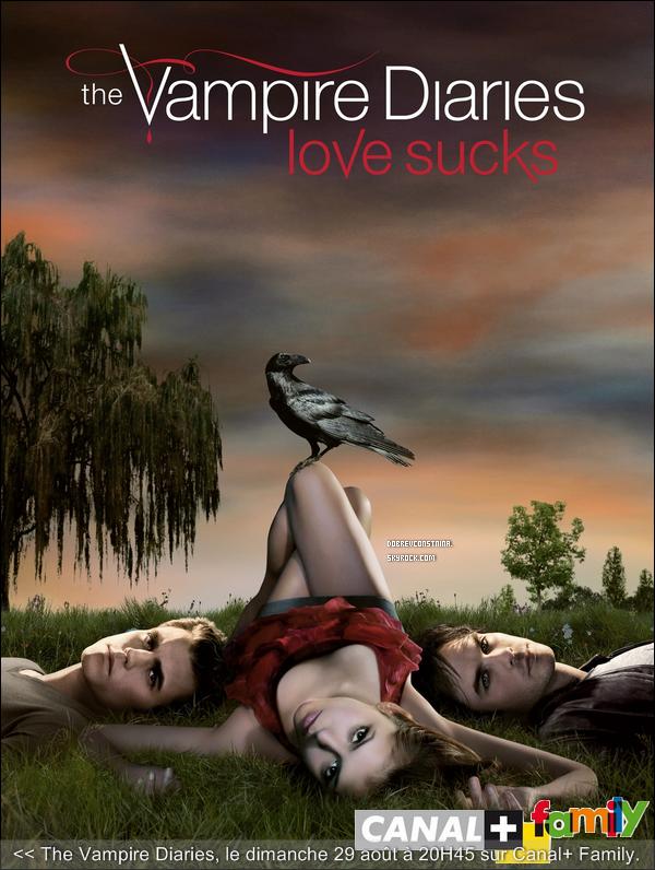 VAMPIRE DIARIES, C'EST CE SOIR A 20H45 SUR CANAL + FAMILY ! (29/08/10)  Après Buffy la mythique, Twilight la romantique, True Blood la Trash, la France voit débarquer une énième histoire de vampires mettant en scène Elena Gilbert (Nina Dobrev), lycéenne de Mystic Falls qui s'éprend d'amour pour le mystérieux Stefan Salvatore (Paul Wesley). Son frère Damon (Ian Somerhalder), un vampire tout à l'opposé de lui, arrogant et diabolique, va venir troubler leur idylle et ne va pas laisser Stefan s'intégrer dans la société aussi facilement... Les abonnés pourront suivre la série sur Canal + Family, tous les dimanches à partir du 29 août et savourer les trois épisodes diffusés à partir de 20h45... Pour ceux qui n'ont pas cette chance, il faudra attendre que TF1 diffuse la série en clair._______Texte rédigé par DCN, crédite ! T'en dis quoi ? Tu vas regarder ?________