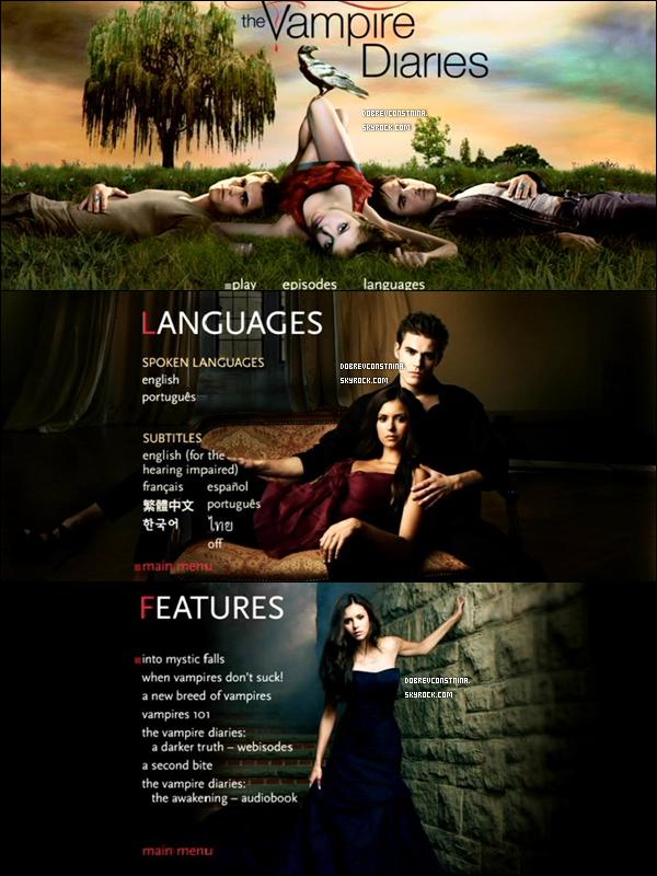 .Captures d'écran du Coffret DVD de la saison 1 de Vampire Diaries, sorti le 31 août aux USA..