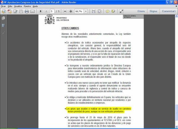 MODIFICACION LEY TRAFICO 2014 GRUAS TIENEN PRIORIDAD DE PASO EN AUXILIO