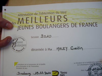 """Quentin remporte le titre de  """"un des meilleur jeune boulanger de FRANCE  2010"""""""