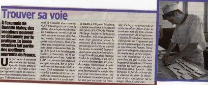 Bel article sur Quentin dans le TOPO (suplément Est Républicain) de mars 2011