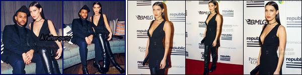 15/02/16 - Bella Hadid et son copain étaient présents au « 58th Annual Grammy Awards », à Los Angeles ![/s#00000ize]Le couple s'est ensuite rendu à l'after-party de Republic Records où ils ont d'ailleurs célébré le vingt-sixième anniversaire de son chéri Abel Tesfaye.[/alig fen]