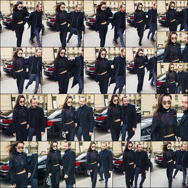 06/03/16 - C'est tout en noir que Bella Hadid a été photographiée dans les rues de la capitale française de Paris ![/s#00000ize]Bella défilera enfin lors de la fashion-week parisienne, et pour la célèbre marque Givenchy : rien de moins ! Et je n'adhère pas trop au pantalon porté ...[/alig fen]