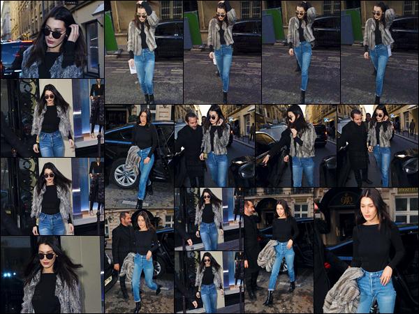 07/03/16 - Isabella Hadid a été photographiée en quittant la luxueuse boutique « Chanel » dans la ville de Paris ![/s#00000ize]Cette fois Bella H. portait une paire de jeans de style boyfriend avec une petite veste en fourrure, un look auquel on adhère tous dans toute sa simplicité.[/alig fen]