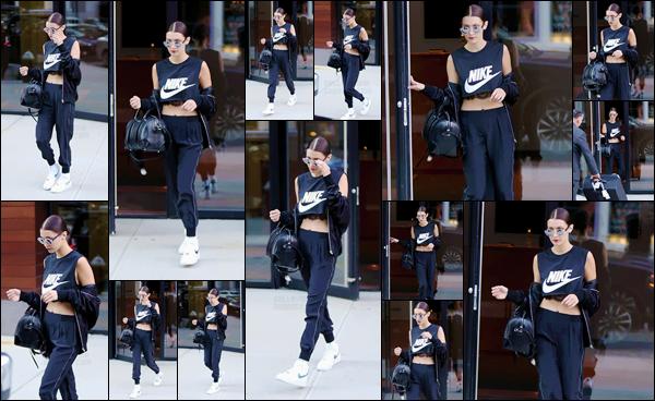 - 08/05/16 - Bella Hadid a été photographiée alors qu'elle quittait l'appartement de Gigi Hadid à New-York CityLa mannequin est donc allée rendre visite à sa grande s½ur, puis elle est ressortie dans une nouvelle tenue différente, je n'aime pas trop - c'est un flop !-