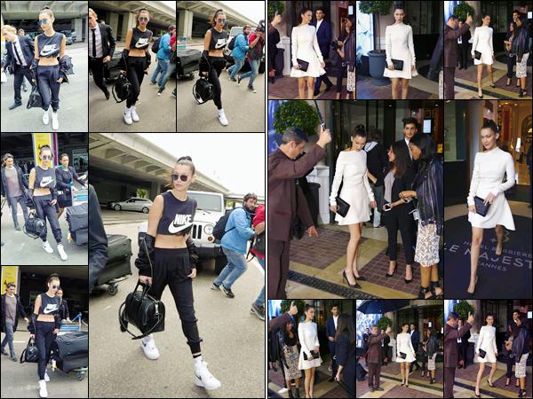- 09/05/16 - Bella Hadid a été photographiée lorsqu'elle arrivait à l'aéroport de la ville de Cannes, en France !La mannequin sera donc sûrement présente au festival de Cannes qui se déroule bientôt. Plus tard, elle a été vue quittant son hôtel toujours à  Cannes.-
