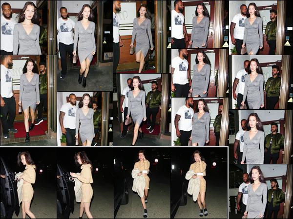 - 17/06/16 ─ Bella Hadid et son boyfriend Abel ont été vu en quittant  un restaurant toujours dans Los Angeles. Elle a aussi été photographiée en se dirigeant vers un voiture, après avoir quitté un cinéma, dans une tenue décontractée qui tient presque du pyjama... -