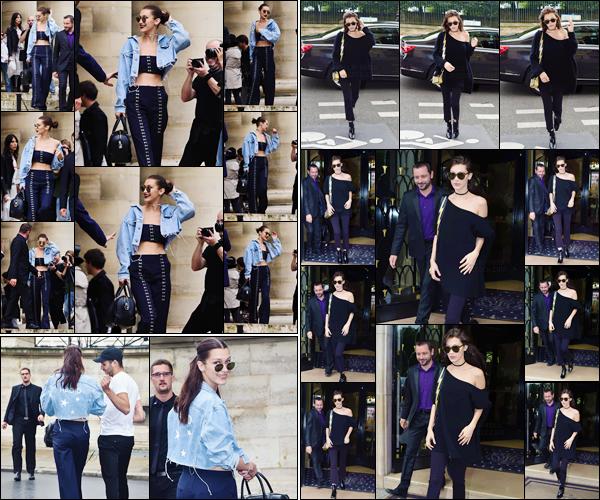 - 03/07/16 ─ Bella Hadid a été photographiée alors qu'elle quittait son hôtel Four Seasons qui se situe à Paris !La jeune mannequin a eu une journée très chargée puisqu'elle a défilé pour la marque Versace le même jour. Bella Hadid a été vue en arrivant au défilé.-