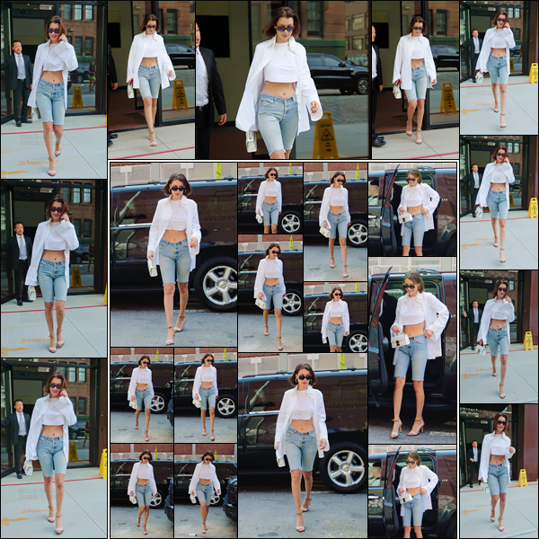 - -'20.07.17'-''─''Après s'être baladée, Bella Hadid a encore été vu en quittant l'appartement de Gigi à Manathan.[/s#00000ize]Il faut croire que les s½urs Hadid passent beaucoup de temps ensemble, quand elles sont à New York. Une tenue toujours dans les mêmes tons qu'hier ! -