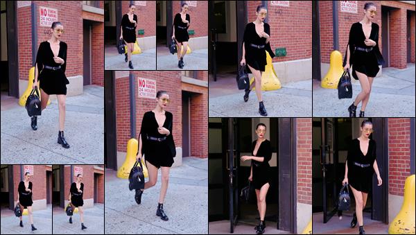 - 12/07/16 ─ Miss Bella Hadid a été photographiée alors qu'elle quittait le Milk Studios qui est à New-York City.Très peu de photo était disponible mais on peut apercevoir une Bella très élégante sur ce candids. C'est un joli top pour moi, et vous ? Donnez votre avis.-