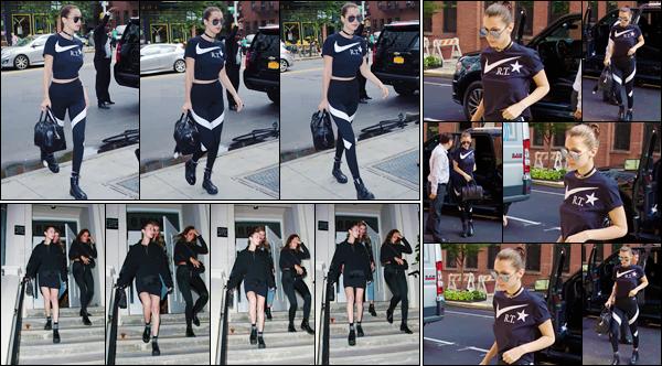 - 13/07/16 ─ Miss Bella Hadid a été photographiée alors qu'elle arrivait à Milk Studios, qui est à New-York City.Bella H. enchaîne les sorties surtout à Milk Studios. Elle a ensuite été photographiée dans NYC ! Concernant sa tenue c'est une tenue de sport, donc bof !-
