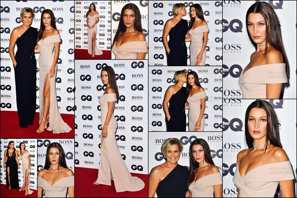 - 06.09.16 ─ Bella Hadid prenait la pose lors des « GQ Men Of The Year Awards » au Tate Modern de Londres.[/s#00000ize]Bella H. était totalement époustouflante dans sa longue robe rose clair, qui met parfaitement en valeur. Elle était sans conteste l'une des plus belles !  -