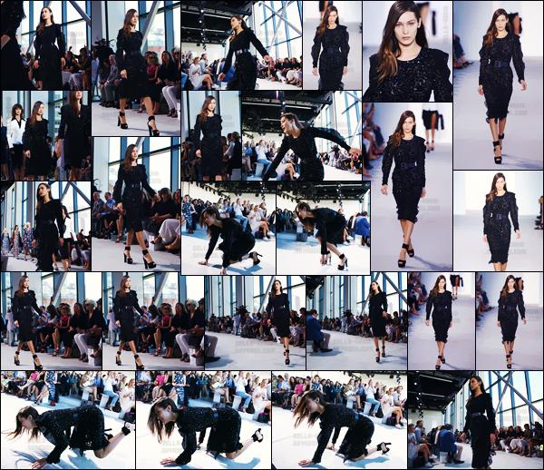 - 14.09.16'─'Bella Hadid défilait pour la grande marque « Michael Kors » lors de la Fashion-Week de New-York ![/s#00000ize]Bella est malheureusement tombée lors du défilé et ce sous les yeux d'une foule de spectateurs ... C'est les risques du métier et des talons trop hauts.  -