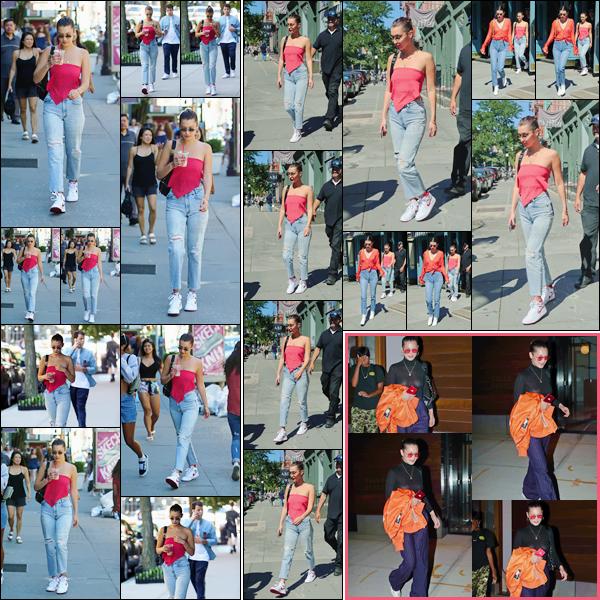 - -'30.07.17'-''─''Bella Hadid quittait le café « La Colombe » avec son ami Daniel Chetrit, dans la Grosse Pomme.[/s#00000ize]La jolie brune a aussi été aperçue en compagnie de sa bonne amie, Kendall Jenner. Une tenue assez estivale pour Bella et que j'aime beaucoup. Joli top ! -