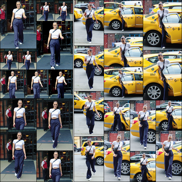 - -'29.07.17'-''─''Bella Hadid quittait l'hôtel « The Bowery », avec son amie Hailey Baldwin, dans New York City ![/s#00000ize]Toujours dans la même journée,  celle-ci a été aperçue en ville, sortant d'un taxie pour se rendre sans aucun doute chez sa s½ur, comme à son habitude. -