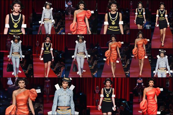 - 22.09.16'─'Bella Hadid dévalait le catwalk lors du défilé de la marque « Moschino » à la Fashion-Week de Milan ![/s#00000ize]Ce défilé misait sur l'effet « poupées en carton » et je ne suis pas du tout fan des tenues proposées... Bels a quitté le défilé avec sa s½ur, Jelena Hadid. -