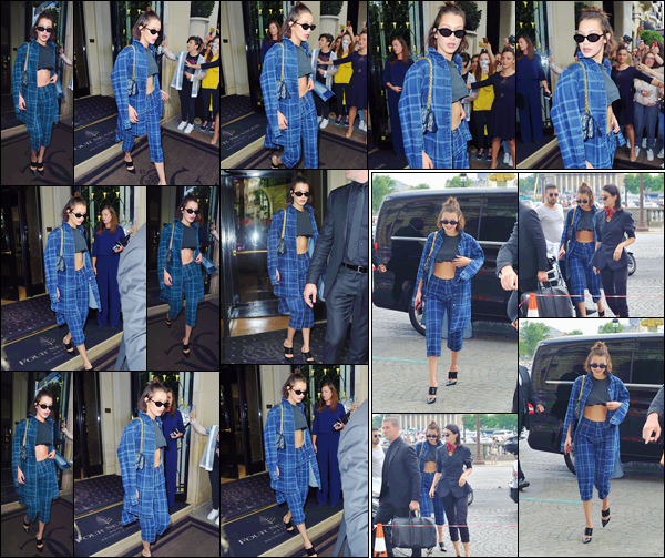 - ''02.07.17'-''─''Bella Hadid arrivait sur les lieux du défilé de la marque « Miu Miu » avec Kendall Jenner à Paris[/s#00000ize]Un peu avant, Bella Hadid n'a pas échappé au radar des paparazzis français alors qu'elle quittait son hôtel le George V. Un petit top pour la tenue portée. -
