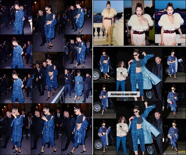 - ''02.07.17'-''─''Bella Hadid quttait les lieux de la showroom du défilé de la marque « Miu Miu » à Paris, France.[/s#00000ize]La belle brune a aussi été photographiée, une énième fois, en rentrant à son hôtel George V. Par la suite, BH a assisté à l'after-party de Miu Miu avec KJ. -
