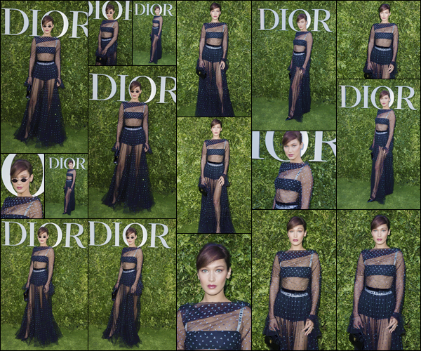 - ''03.07.17'-''─''Bella Hadid était présente à la soirée d'exposition de la « Maison Dior » dans la ville de Paris ![/s#00000ize]C'est affublée d'une tenue assez spéciale et transparente que la jolie mannequin s'est présentée à l'exposition ouverte, pour célébrer les 70 ans de Dior. -