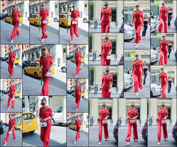 - '-25/08/17-'''✈''Bella Hadid a été vue en se dirigeant vers un salon de coiffure, situé dans la ville de New York ! Bella nous offre l'une de ses plus belles sorties du mois, dans sa superbe combinaison de couleur rouge, une couleur qui lui sied à merveille. C'est un top. -