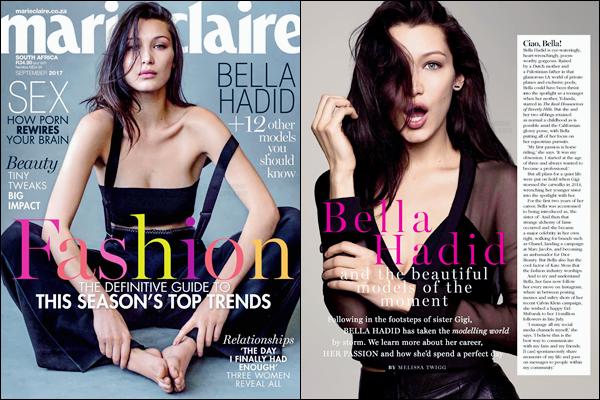 - ▬ Bella Hadid en couverture du « Marie Claire South Africa » pour le mois de septembre !-