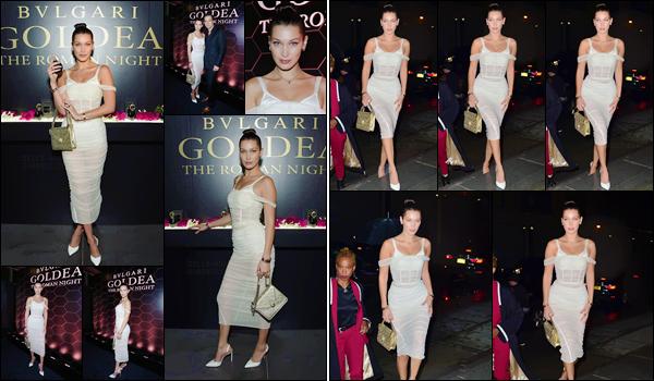 - '-06/09/17-'''✈''Bella Hadid était présente à la soirée de lancement Bulgari « The Roman Night », à New York ! Bella étant le visage de cette fragrance de la branche Goldea de la marque Bulgari, était donc présente au lancement américain, tout comme pour Rome.-
