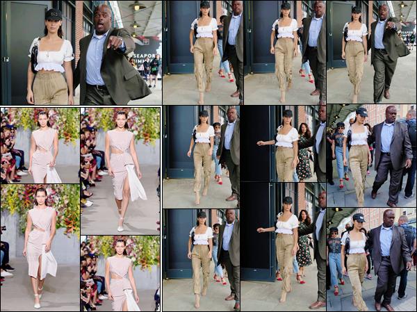 -'-08/09/17-'''✈''Bella Hadid quittait le lieu du défilé de « Jason Wu » pour la Fashion-Week 2018 de New York. Le mois de septembre qui débute veut aussi dire le début de la Fashion-Week qui commence d'abord à New York et donc plusieurs autres défilés à venir.-