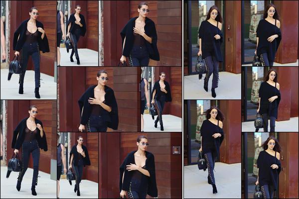- 11/07/16 ─ Miss Bella Hadid a été vue alors, qu'elle quittait l'appartement de sa s½ur, Gigi, à New-York City !Bella a donc quitté la ville de l'amour pour rentré à la maison ! Et c'est sa s½ur qu'elle est allée voir en premier. C'est un joli top pour sa tenue, vos avis ?-