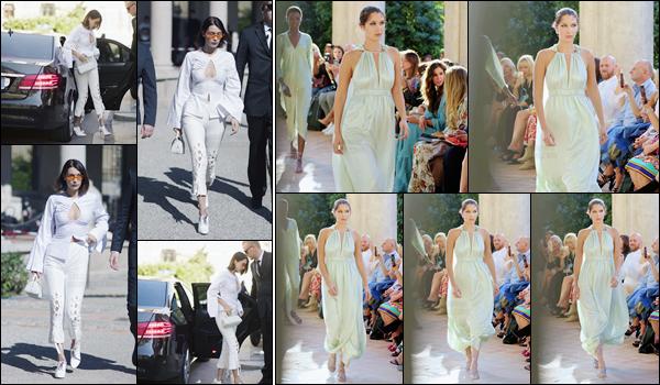 -'-20/09/17-'''✈''Bella Hadid défilait pour la collection de « Alberta Ferretti » à la Fashion-Week 2018 de Milan. Tout comme sa s½ur Gigi Hadid ou encore son amie Hailey Baldwin, notre jolie brune de 20 ans a défilé dans plus d'une tenue pour la créatrice italienne.-